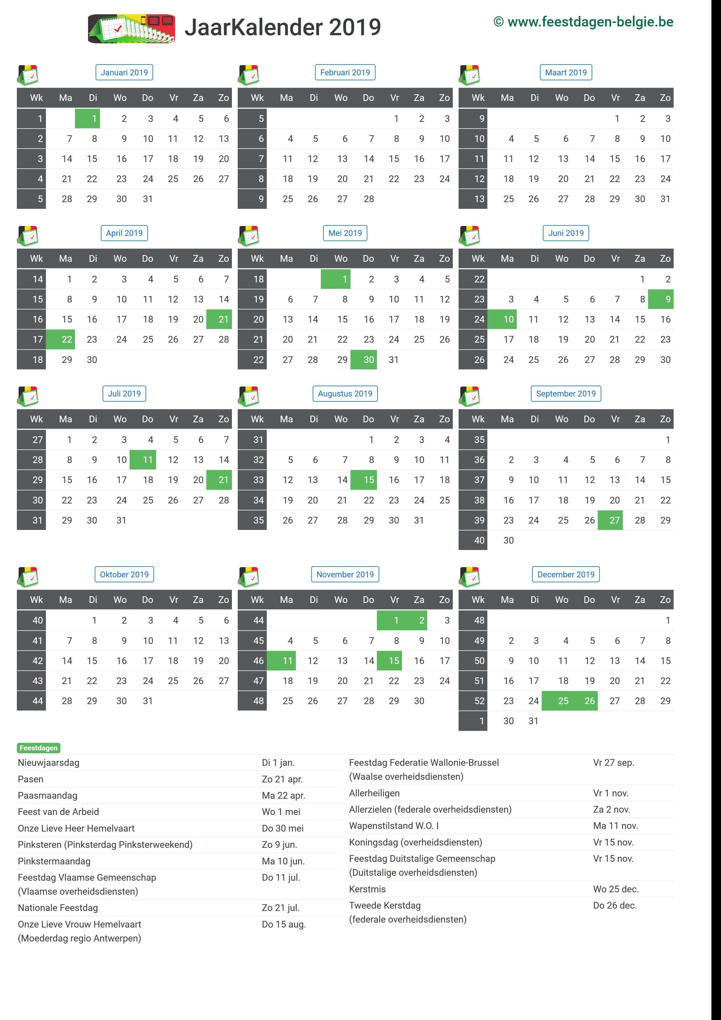 kalender 2019 jaarkalender belgie verlengde weekends. Black Bedroom Furniture Sets. Home Design Ideas