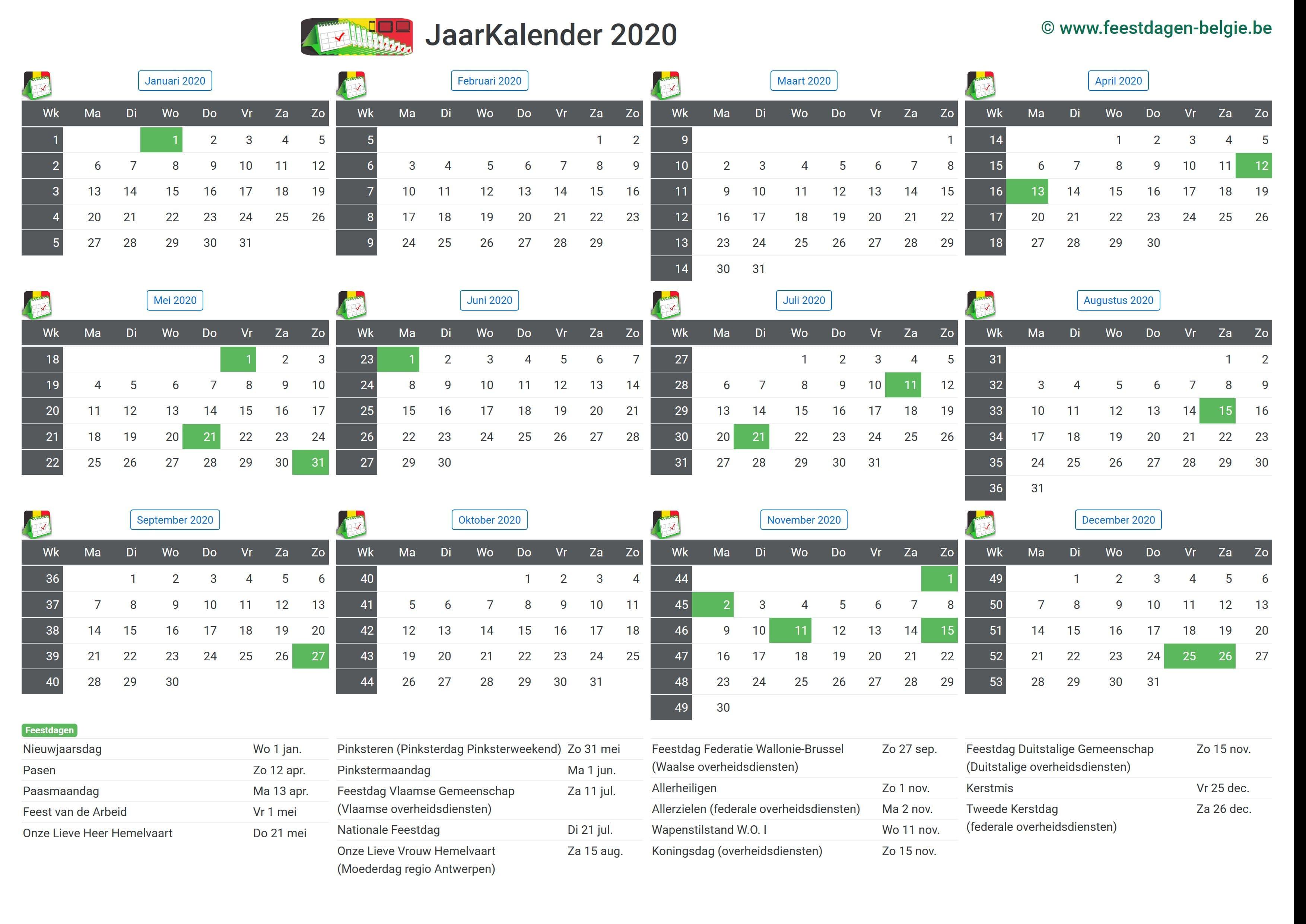kalender 2020 jaarkalender belgie verlengde weekends. Black Bedroom Furniture Sets. Home Design Ideas