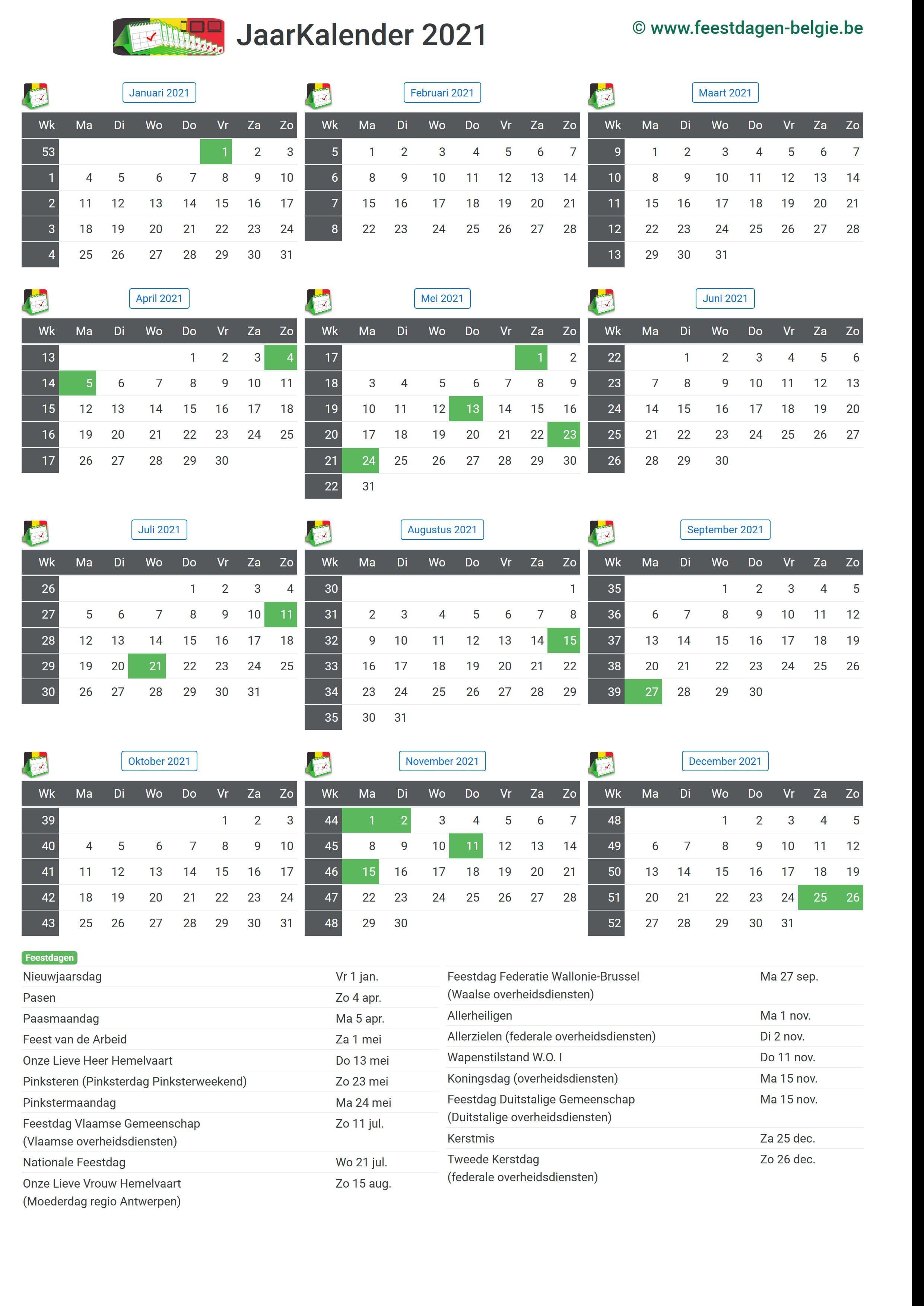 Maandkalender 2021 Maart Belgie Verlengde Weekends Feestdagen Schoolvakanties
