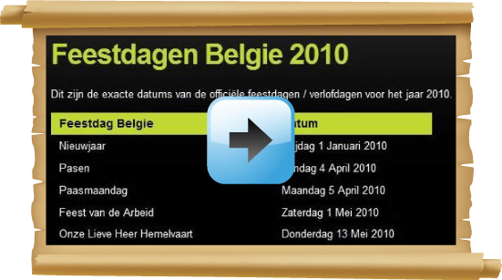 Feestdagen 2010 Belgie Google agenda