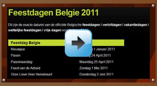 Feestdagen 2011 Belgie Google agenda