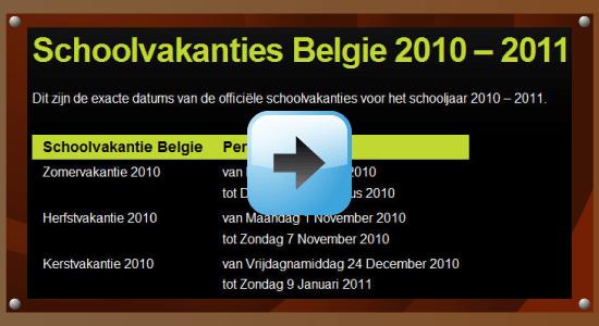 Schoolvakantie schooljaar 2010-2011 Belgie datum kalender Google agenda